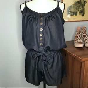 Denim-Look Henley Blouse, belted, Shorts Romper M